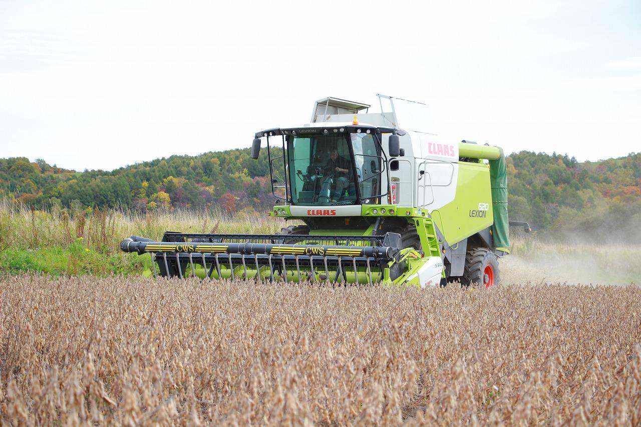 【JAところ通信】大豆の収穫を撮影しました!